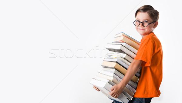 Stockfoto: Knap · jongen · portret · schooljongen · bril