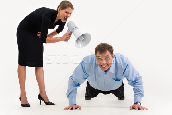 ストックフォト: うそをつく · ダウン · 画像 · 女性実業家 · 立って · 悲鳴