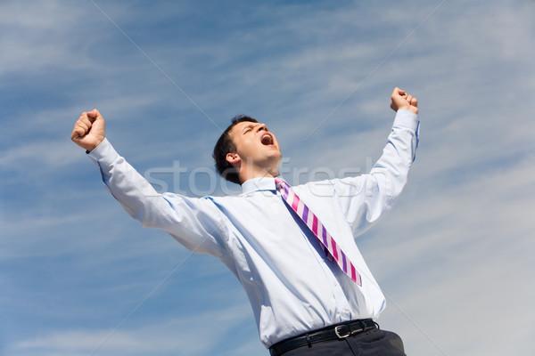 Radosny krzyk Fotografia szczęśliwy zwycięzca krzyczeć Zdjęcia stock © pressmaster