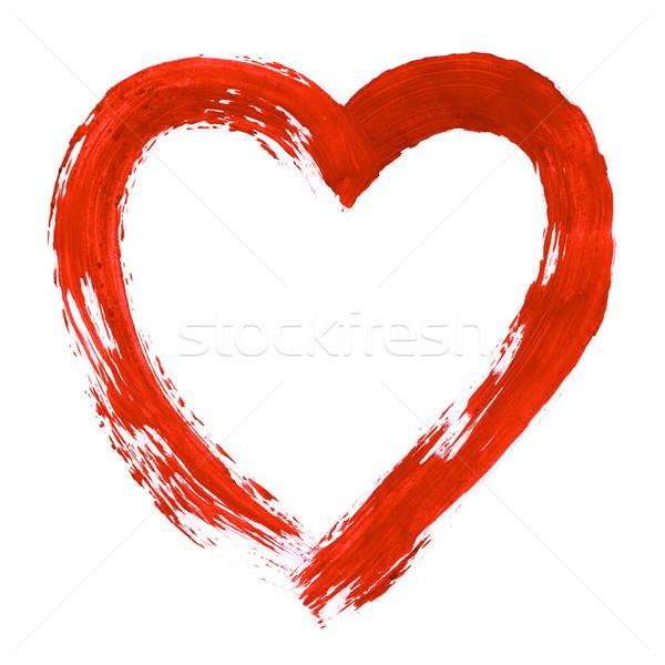 Stockfoto: Groot · liefde · afbeelding · hart · geschilderd · witte