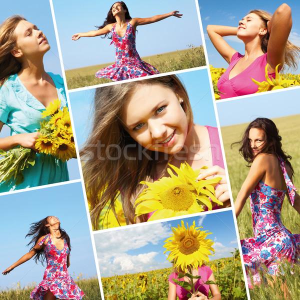 Stok fotoğraf: Yaz · kız · kolaj · fotoğrafları · güzel · bir · kadın · çiçek