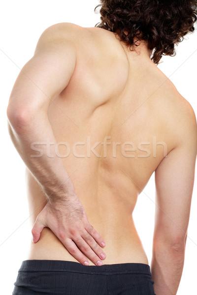 腰痛 背面図 若い男 触れる 手 男 ストックフォト © pressmaster