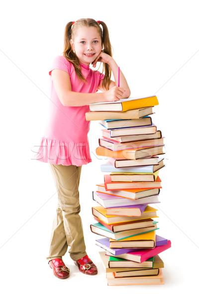 Сток-фото: портрет · Cute · школьница · Постоянный · книгах
