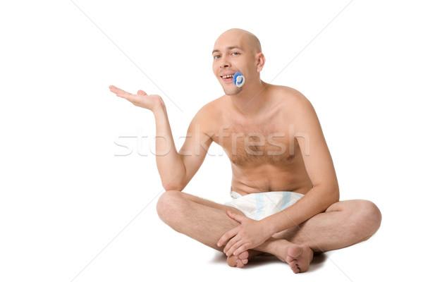 Felicidad bebé hombre pañal palma abierto Foto stock © pressmaster