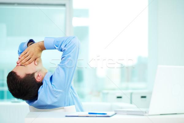 álmos férfi portré üzletember ásít iroda Stock fotó © pressmaster