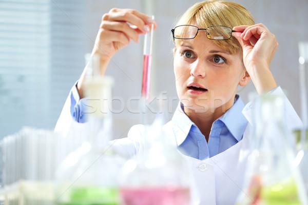 ストックフォト: 興味深い · 混合 · 肖像 · 驚いた · 化学者 · 見える
