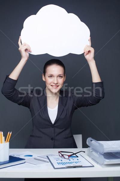 рекламодатель портрет молодые улыбаясь женщины Сток-фото © pressmaster