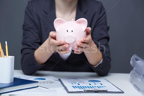 Stockfoto: Financiële · afbeelding · roze · spaarvarken · menselijke