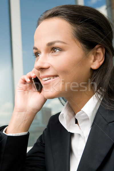 Stockfoto: Telefoon · oproep · profiel · geslaagd · zakenvrouw · business