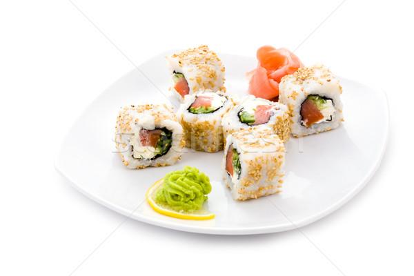 Foto d'archivio: Alaska · maki · immagine · sushi · sesamo · zenzero