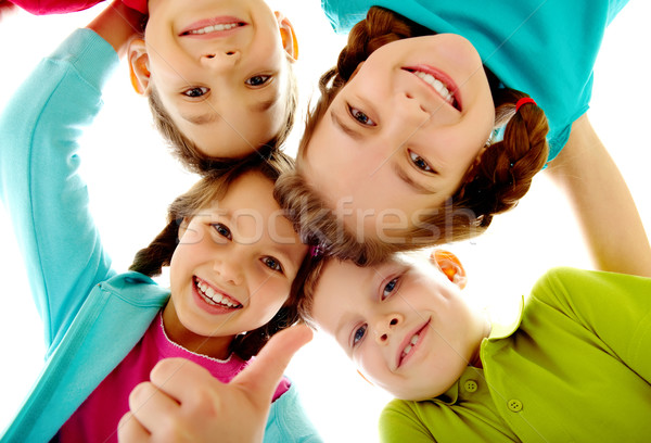 Enfants photo joyeux enfants toucher fille Photo stock © pressmaster