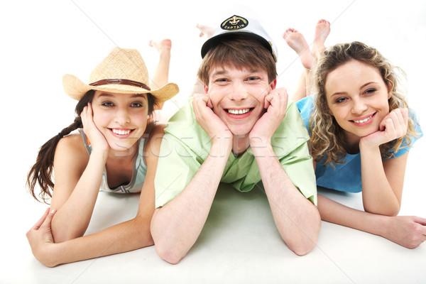 şık insanlar portre üç mutlu arkadaşlar Stok fotoğraf © pressmaster