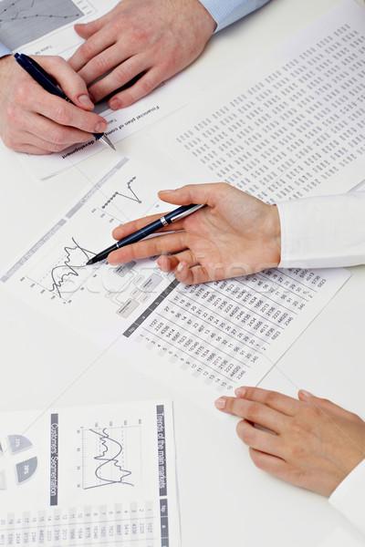 Photo stock: Affaires · planification · deux · mains · discussion · papiers