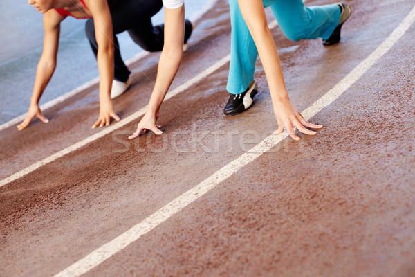 Versenypálya közelkép fitnessz energia padló láb Stock fotó © pressmaster