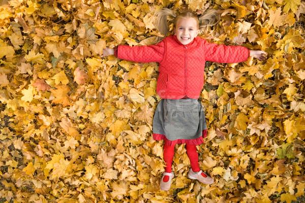 Zdjęcia stock: Jesienią · szczęścia · happy · girl · dywan · wyschnięcia · klon
