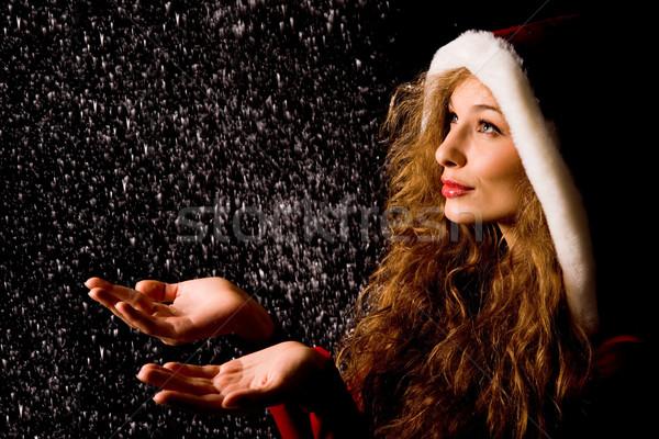 Jókedv portré csinos lány nyitva pálmafák Stock fotó © pressmaster