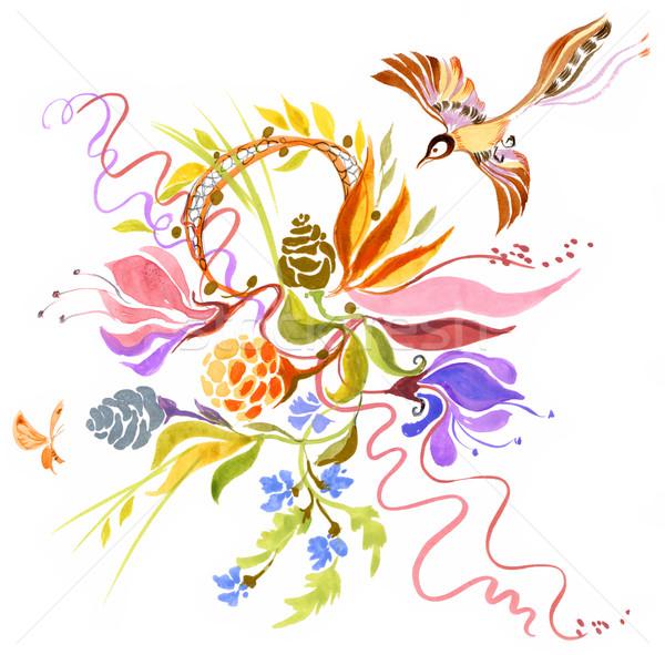 Yaz Boyama Parlak çiçekler Uçan Kuş Stok Fotoğraf