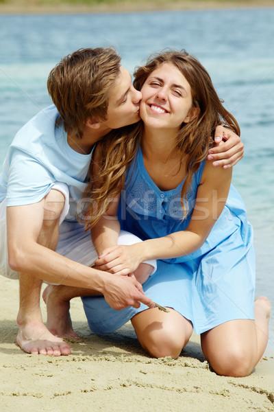 Gyengédség fotó boldog lány fiúbarát nyári vakáció lány Stock fotó © pressmaster