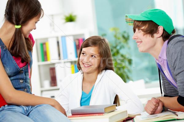 Foto stock: Estudantes · retrato · inteligente · quebrar