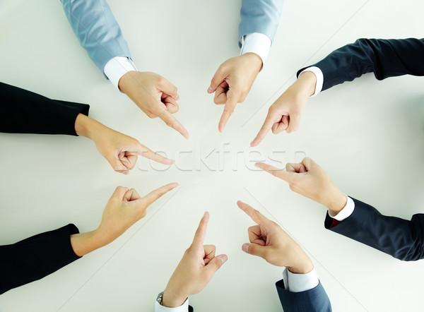 Mutat kezek felső kilátás üzletemberek üzlet Stock fotó © pressmaster