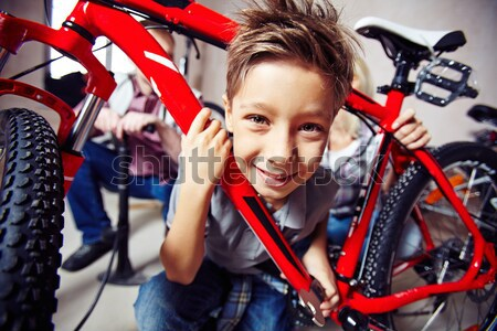 Family with mountain bike Stock photo © pressmaster