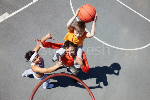 Foto stock: Família · basquetebol · jogadores · imagem · casal
