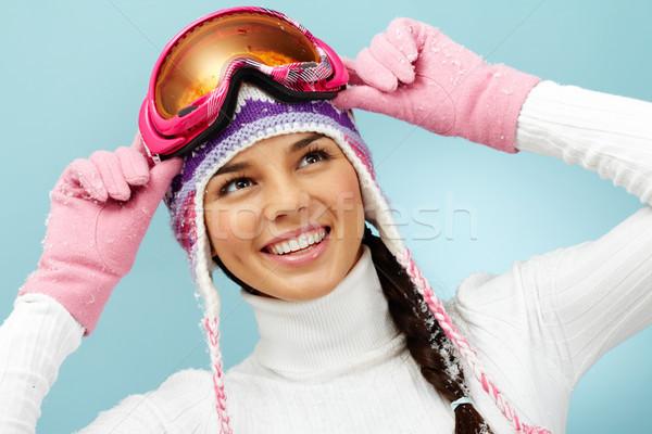 Stok fotoğraf: Kadın · güzel · kadın · gözlük · örgü · kış