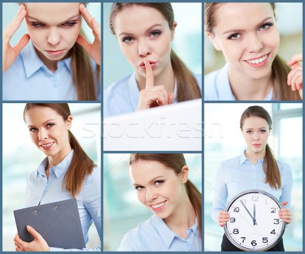Jovem empresária colagem bem sucedido mulher tempo Foto stock © pressmaster