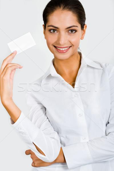 Representante pessoa branco roupa cartão de visita Foto stock © pressmaster