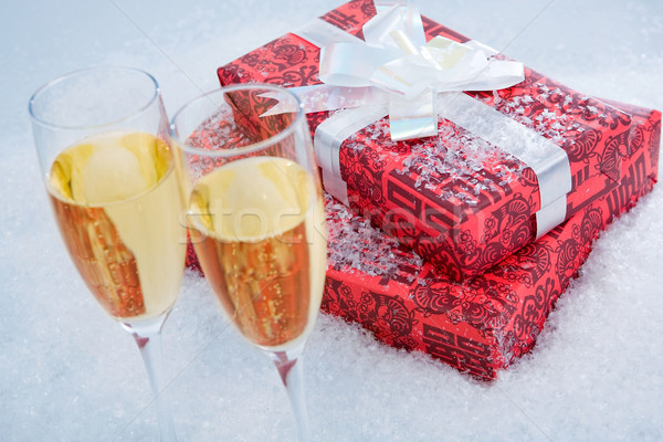 Present and champagne Stock photo © pressmaster