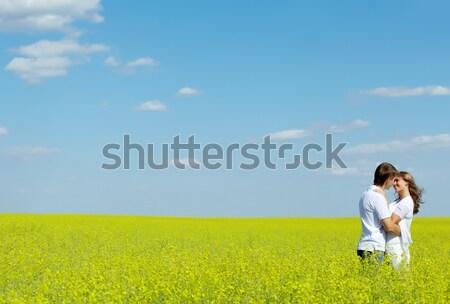 Stok fotoğraf: Görüntü · mutlu · çift · sarı