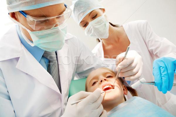Tandarts verpleegkundige meisje vrouw kind gezondheid Stockfoto © pressmaster