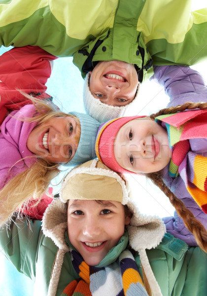 Foto stock: Empresa · ángulo · familia · feliz · mirando