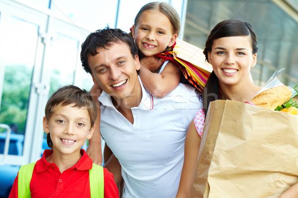 Foto stock: Família · produtos · casal · dois · crianças · compras