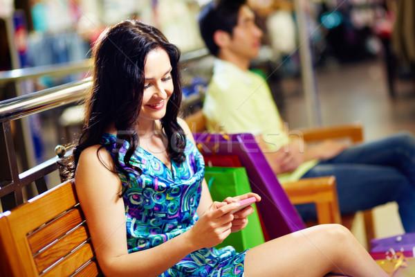 Foto stock: Mensagem · shopping · doce · senhora · datilografia · curto