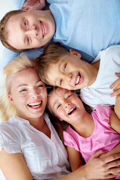 Photo stock: Parents · enfants · portrait · famille · heureuse · regarder · caméra