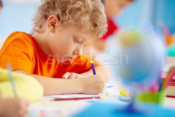 Iskolás fiú kép göndör haj arc oktatás személy Stock fotó © pressmaster