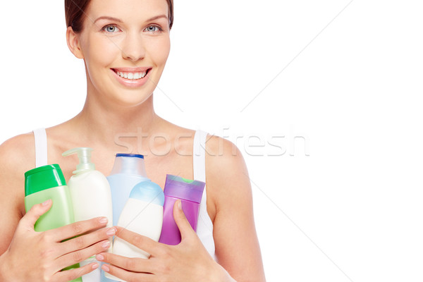 Persoonlijke hygiëne jonge vrouw bad producten vrouw vrouwelijke Stockfoto © pressmaster