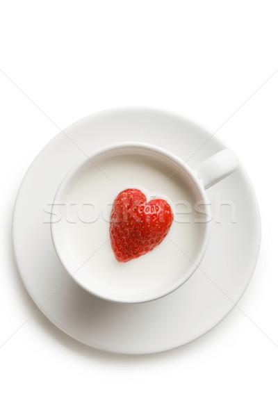 Stock photo: Strawberry in milk