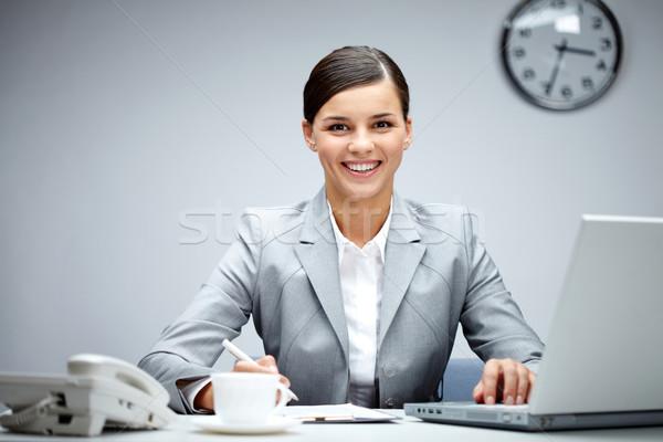 Stock fotó: Nő · munkahely · kép · fiatal · munkáltató · néz