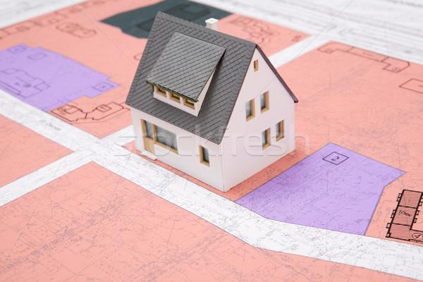 Jouet maison modèle blueprints Photo stock © pressmaster