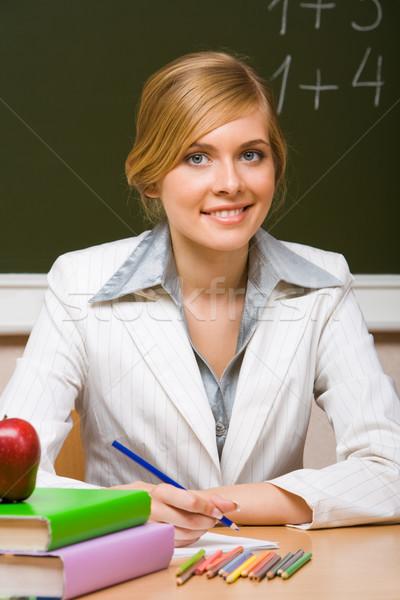 Foto stock: Bem · sucedido · jovem · professor · para · cima