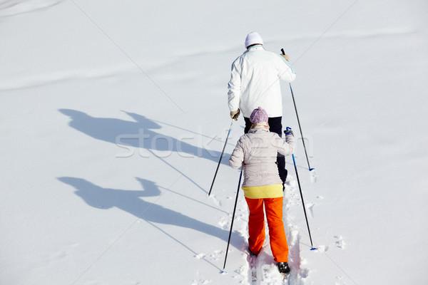 Stok fotoğraf: Olgun · çift · kayakçılık · kış · park