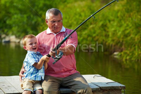 Tige photo grand-père petit-fils pêche Photo stock © pressmaster