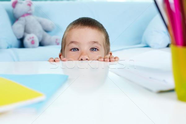 Talál engem játékos kicsi fiú rejtőzködik Stock fotó © pressmaster