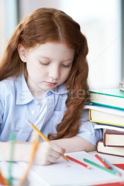 рисунок карандашей Cute девочку красочный счастливым Сток-фото © pressmaster