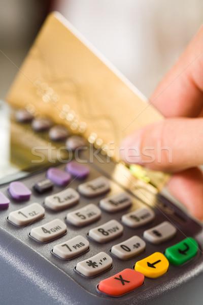 Foto d'archivio: Primo · piano · pagamento · macchina · pulsanti