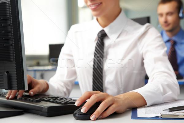 набрав изображение женщины стороны мыши клавиатура Сток-фото © pressmaster