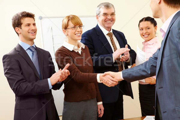 Foto stock: Exitoso · apretón · de · manos · imagen · negocios · formación · reunión