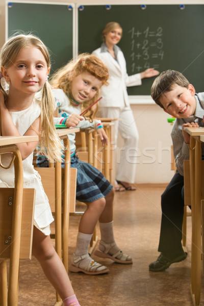 Foto stock: Sala · de · aula · imagem · curioso · sessão · secretária
